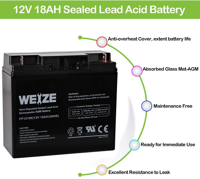 Amazon Com Weize 12v 18ah Battery Sealed Lead Acid Rechargeable Sla Agm Batteries Replaces Ub12180 Fm12180 6fm18 Universal Automotive