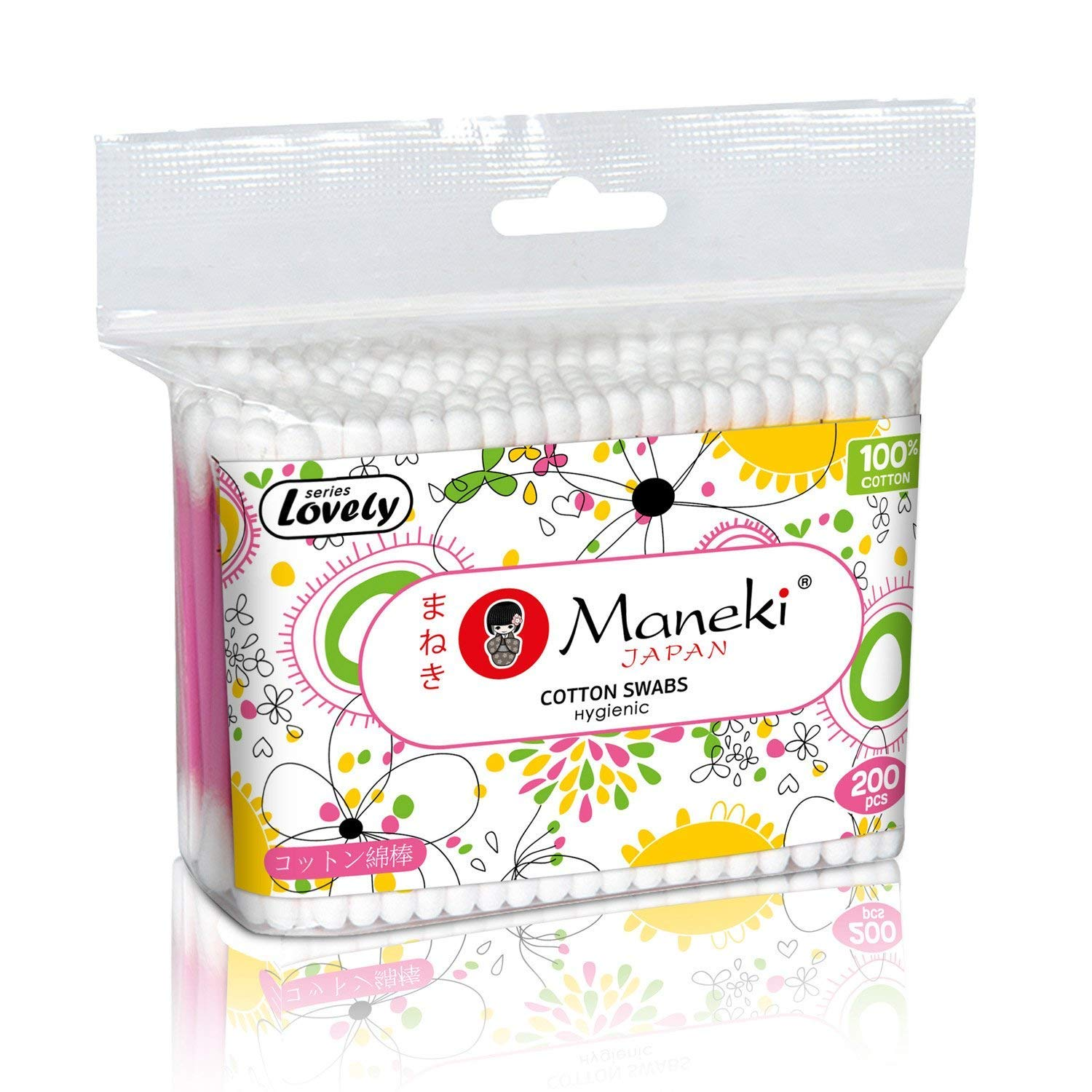 Maneki Lovely 100% Cotton Buds, Double Head, Round Applicators, Premium Quality, 200 Pieces