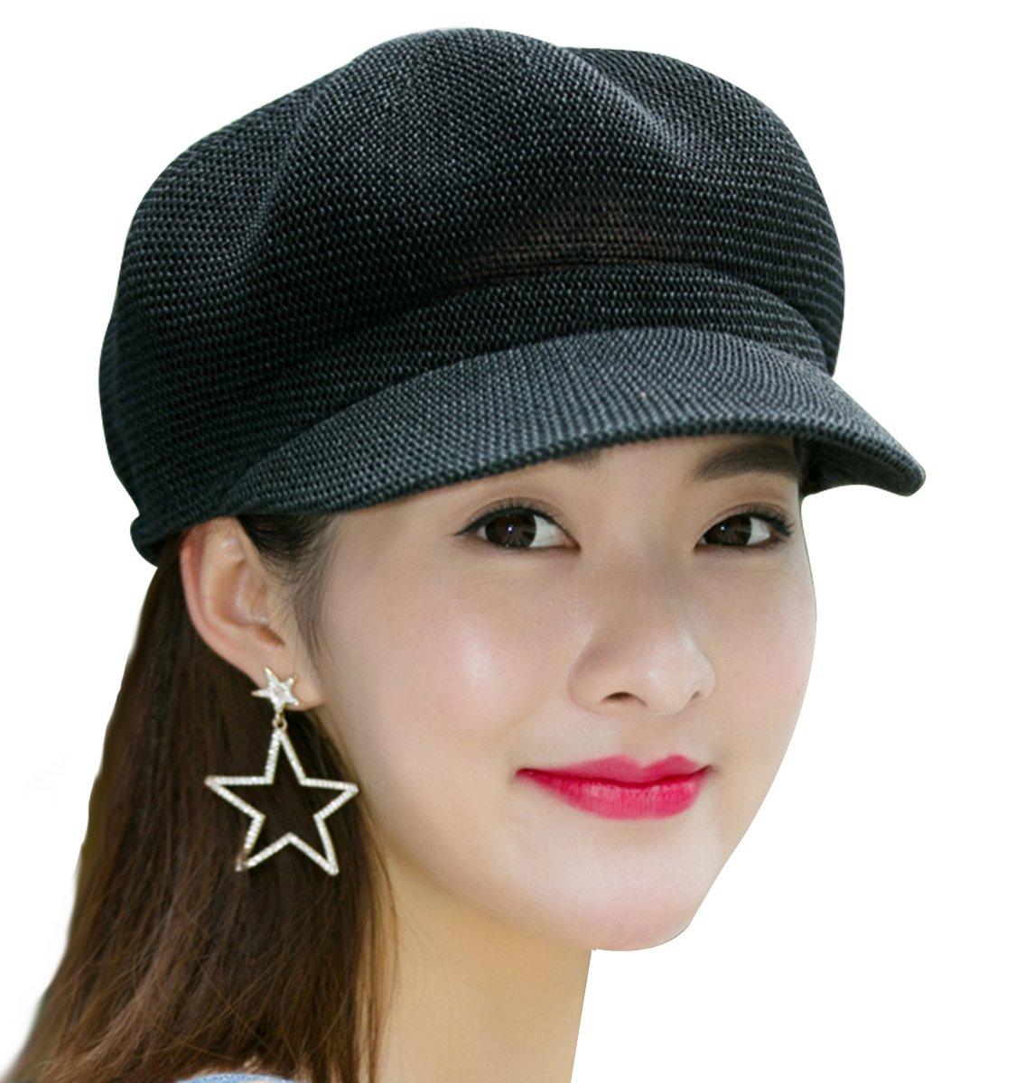 Clecibor Women Summer Straw Newsboy Cap Beret Breathable Mesh Octagonal Cap, Black