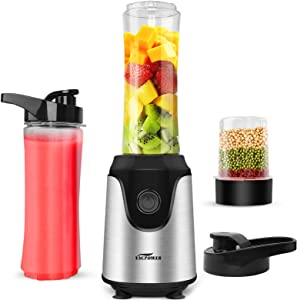 Blender for Shakes and Smoothies, Premium Smoothie Blender, Powerful Personal Blender for Ice Milkshake/Frozen Fruit Vegetable Drink, with 2pcs 20oz Juice Bottle & 3.3oz Bean Grind Cup