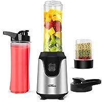 Blender for Shakes and Smoothies, Premium Smoothie Blender, Powerful Personal Blender for Ice Milkshake /Frozen Fruit Vegetable Drink, with 2pcs 20oz Juice Bottle & 3.3oz Bean Grind Cup