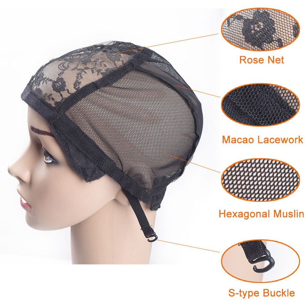 Amazon.com  M AliMomo 2 pcs Wig Caps with Adjustable Strap for Making Wigs  Black Wig Caps for Women Average Size (Lace Wig Caps)  Beauty 8ef6ba430b