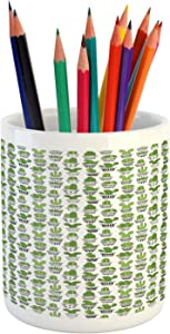 Ambesonne Cactus Pencil Pen Holder, Succulent Spiky Cacti Doodle Patterned Pots Exotic Houseplants, Printed Ceramic Pencil Pen Holder for Desk Office Accessory, Charcoal Grey Apple Green White