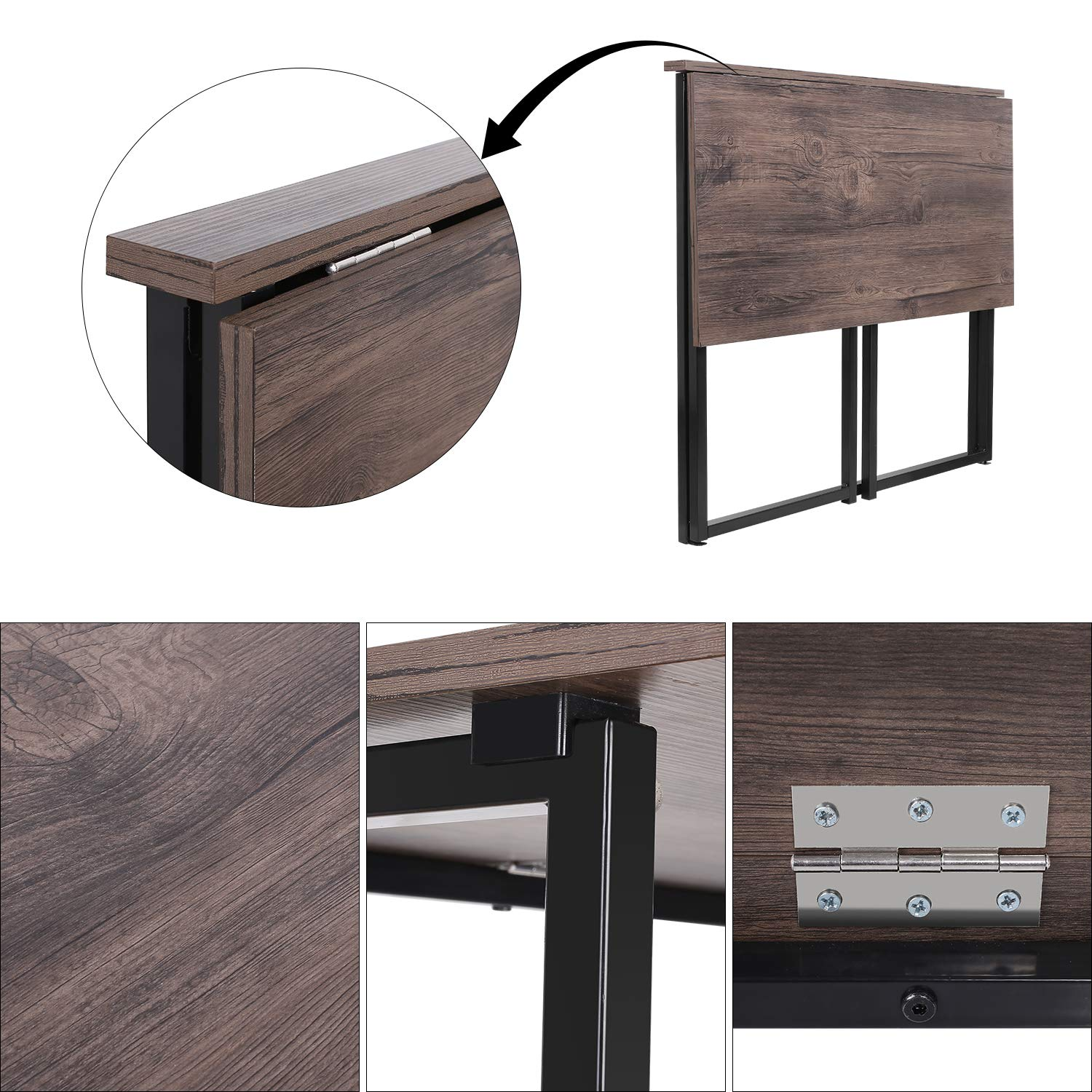 HOMFA Folding Laptop Table, Writing Computer Notebook Desk, Modern Simple Industrial Style TV Tray Bed/Sofa Side Study Table, Space Saving Furniture for Home Office by Homfa (Image #3)
