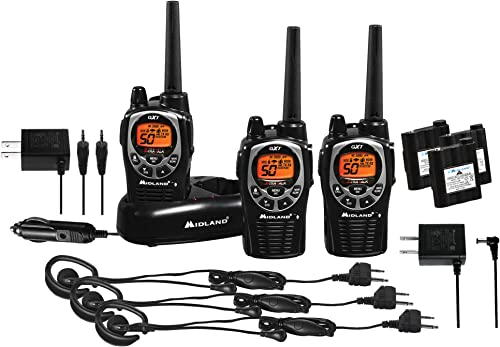 Midland – GXT1000VP4, 50 Channel GMRS Two-Way Radio – Up to 36 Mile Range Walkie Talkie, 142 Privacy Codes, Waterproof, NOAA Weather Scan Alert 3 Pack Black Silver