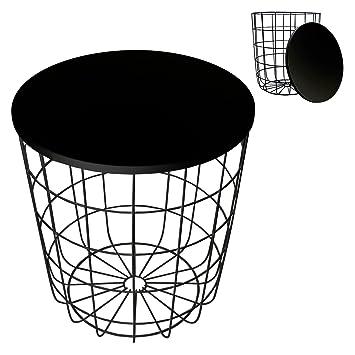 Beistelltische Schwarz beistelltisch metall korb mit metall deckel zeitungskorb nétte