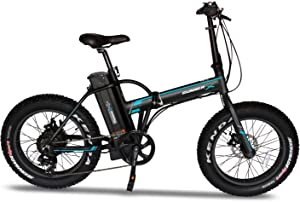 """Voltech Runner X 20"""" Fat Tire Folding Electric Bike/Commute Bicycle/Mountain/Beach E-Bike with Foldable Alloy Frame, 500W Motor Power, 48V Rechargeable Battery with Upgrade LCD Display Speed Monitor"""