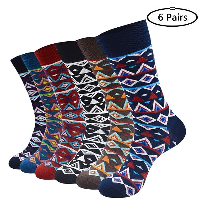 Calcetines Algodón Peinado de Diseños Creativos Multicolor Calcetín Nocedoso Arte Retro a Rayas Elegante Casual Cómodo