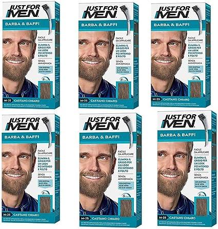 6 x Just For Men Barba y bigote color tinte permanente para hombre con pincel sin amoniaco, castaño claro, M 25, 2 x 14 ml, gel colorante.