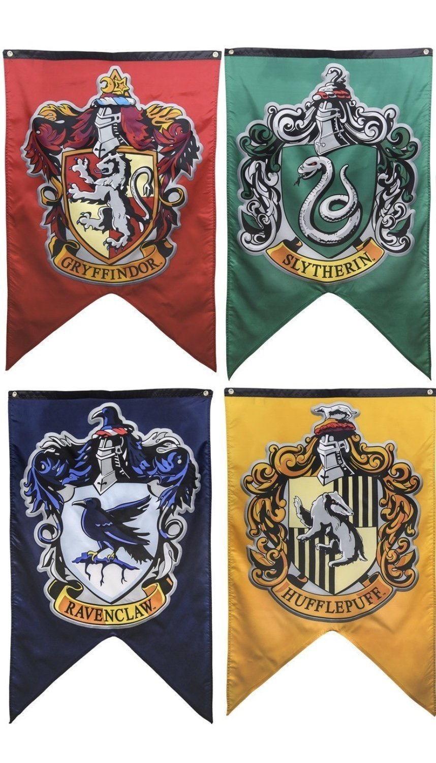 Harry Potter Hogwarts House Wall Banners: Gryffindor, Slytherin, Hufflepuff and Ravenclaw; Harry Potter Hogwarts House Flags by Easy Party