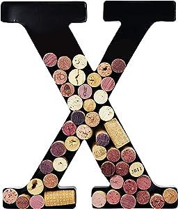 Metal Wine Cork Holder Monogram Decorative Wall Letter (X)