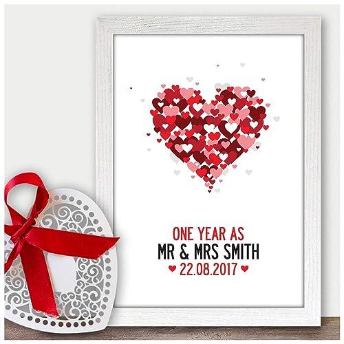1st Wedding Anniversary Gift Print Present For Paper Anniversary