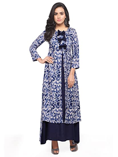 29965d4c76e4 Royal Export Women s Blue Rayon Printed Gown  Amazon.in  Clothing ...