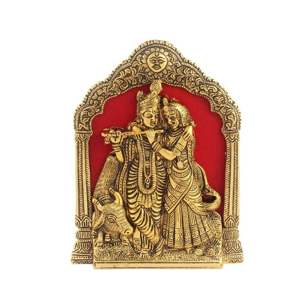 Handicrafts Paradise Radha Krishna with Cow on Thin Metal Frame Wall Hanging and for Table Antique Golden Finish