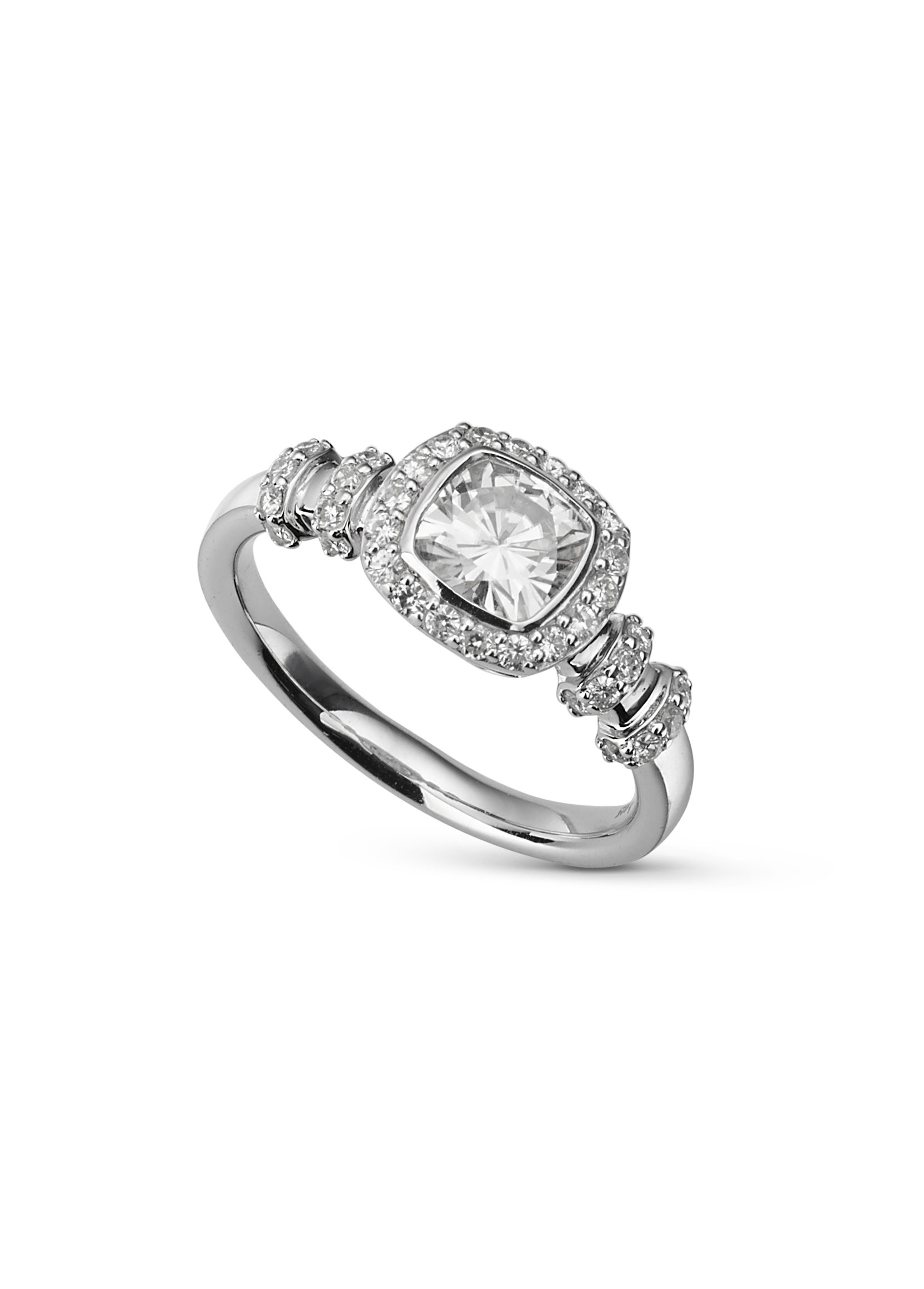 Cushion Cut Forever Classic Moissanite Halo Ring 1.48cttw DEW Size 8 By Charles & Colvard by Charles & Colvard
