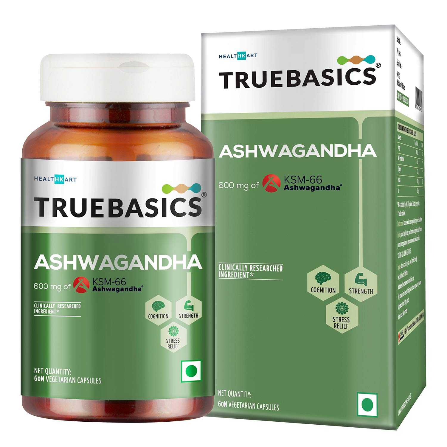 TrueBasics Ashwagandha || 600mg of KSM-66 Ashwagandha || General Health || Anxiety & Stress Relief || Energy & Endurance || Clinically Researched Ingredients || 60 Veg Capsules