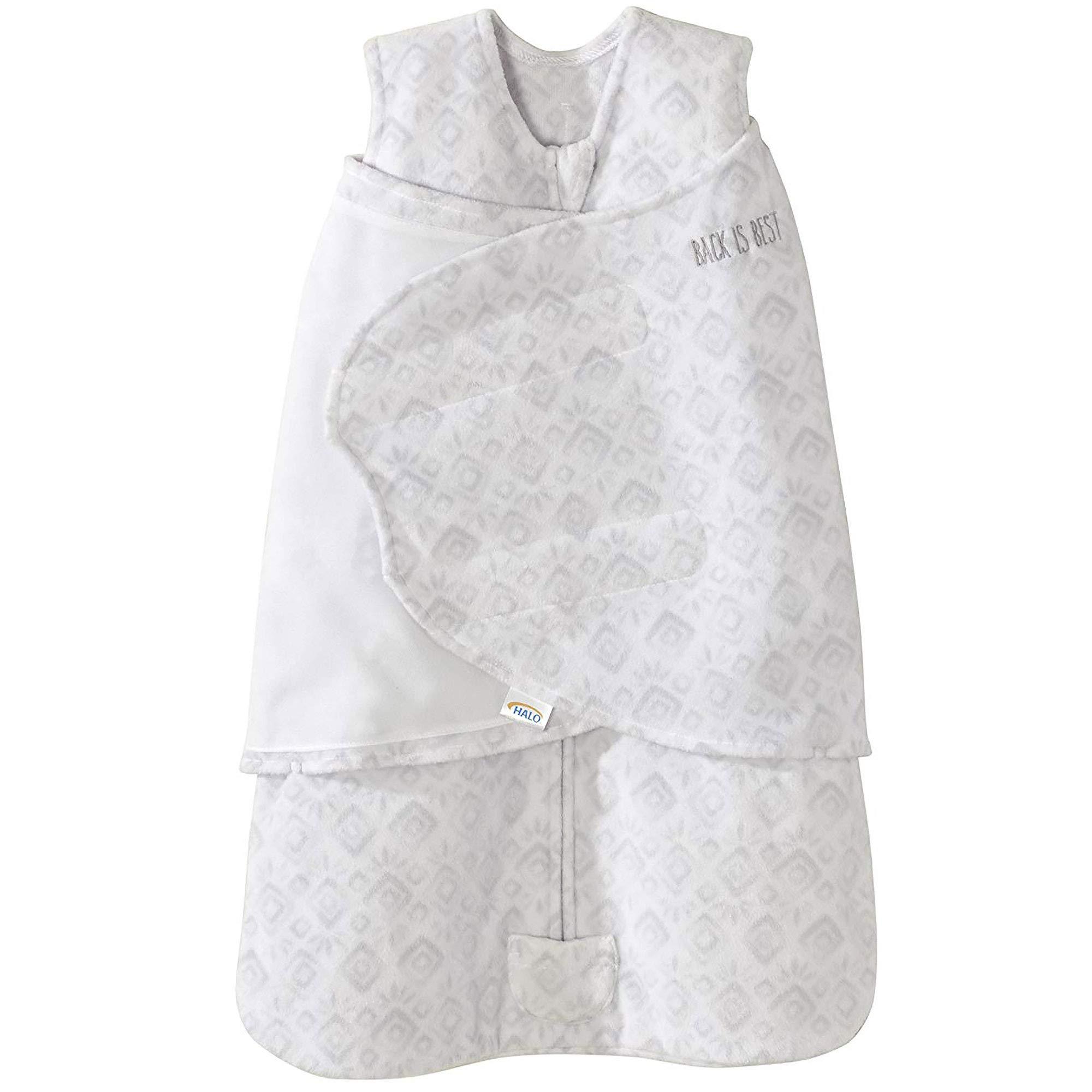Halo Micro Fleece Sleepsack Swaddle Wearable Blanket, Grey Diamonds and Leaves, Newborn