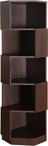ioHOMES Bassey Contemporary 5-Shelf Corner Bookcase Display Stand with Zig-Zagging Shelves, Espresso