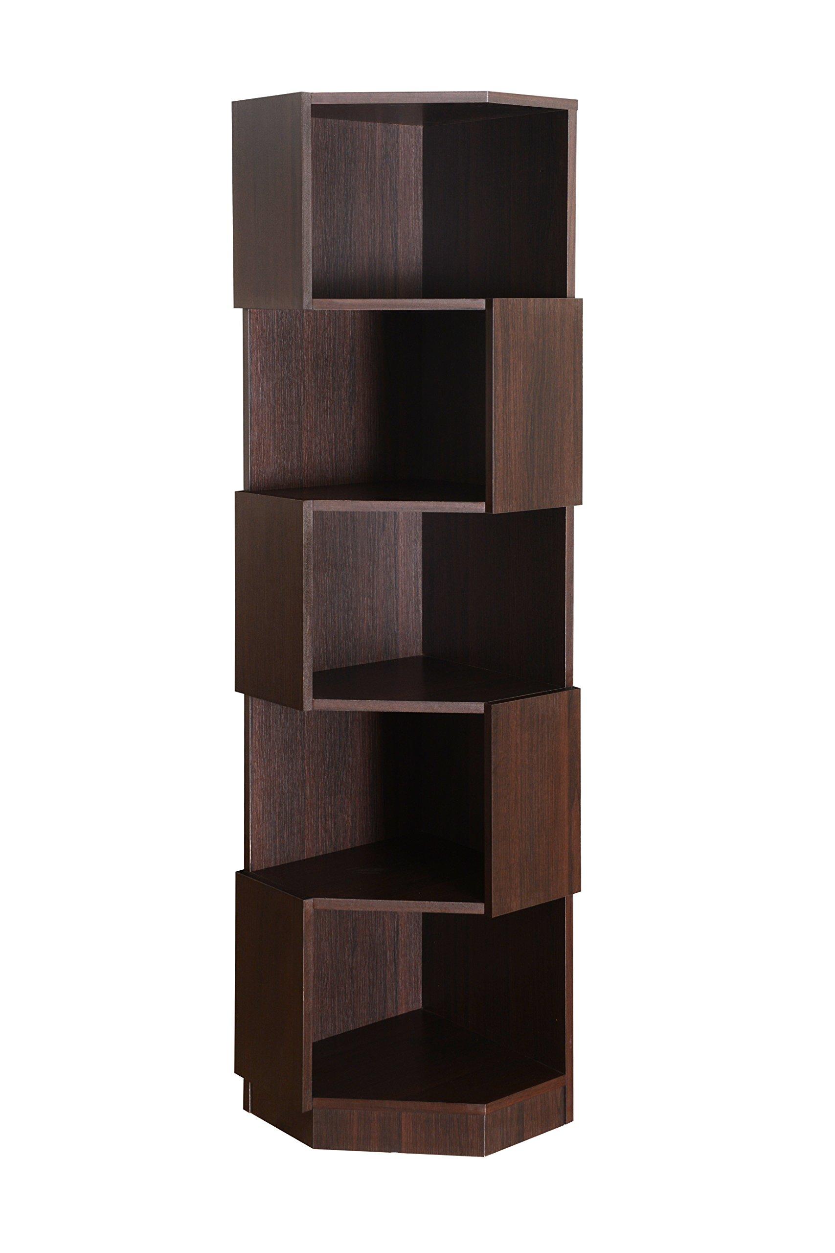 Furniture of America Bassey 5-Shelf Bookcase Display Stand, Espresso