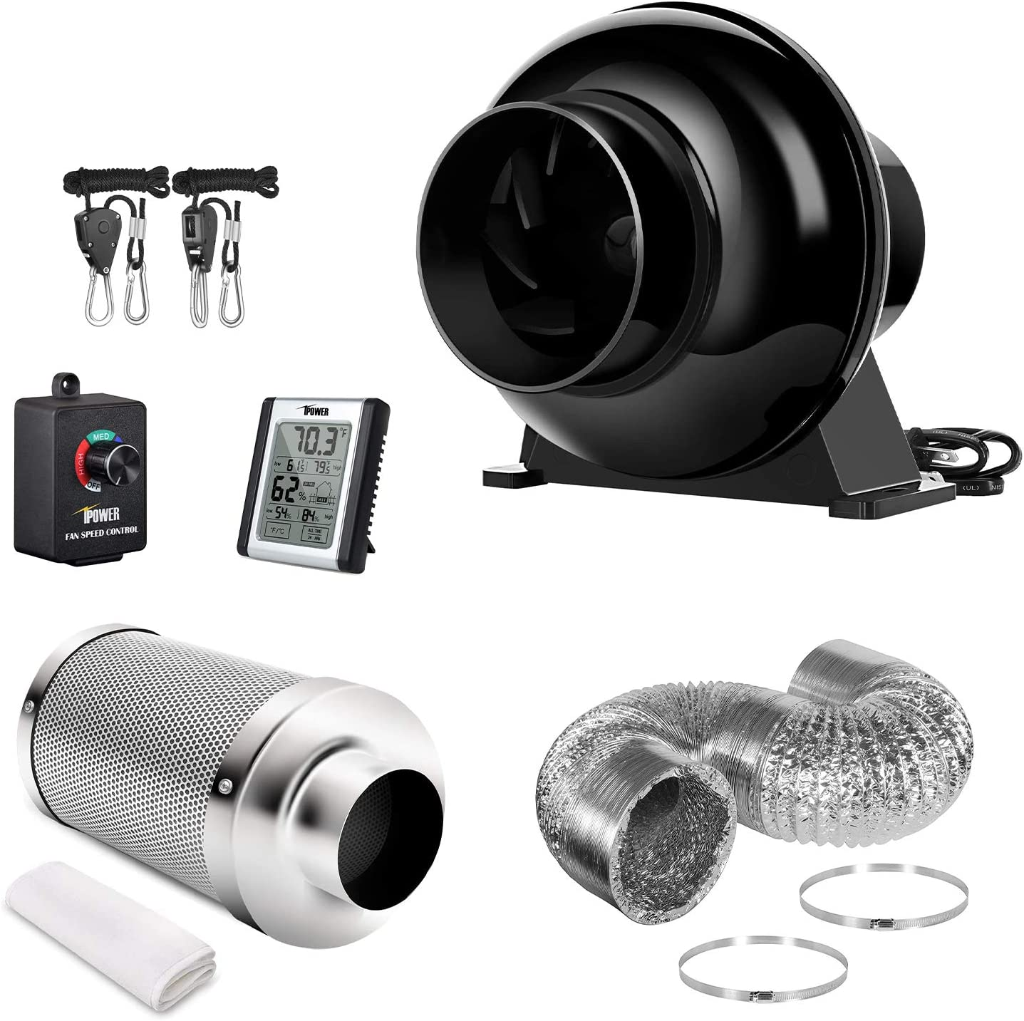 iPower GLFANXSETINLLITE4D8RHCTR 4 Inch 195 CFM Inline Fan Carbon Filter – Complete Filtration Kit