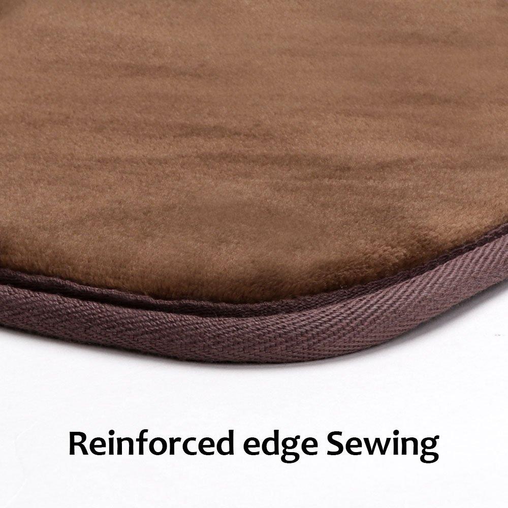 Kitchen Rug Set, LEEVAN Memory Foam Kitchen Comfort Mat Super Soft Rug Microfiber Flannel Area Runner Rugs Non-slip Backing Washable Bathroom Rug Set of 2 Pcs, 19''x31''+19''x63'', Light Coffee by LEEVAN (Image #2)