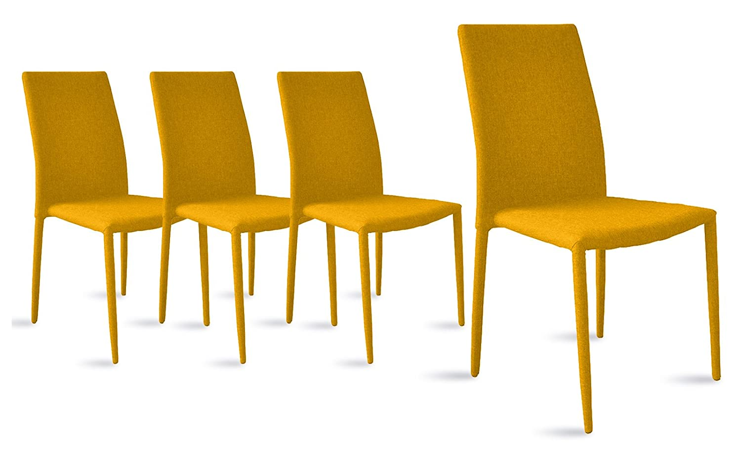 Dining Room Chairs Set of 4, Fabric Chair for Living Room 4 Pieces Yellow
