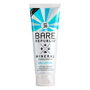 Bare Republic Mineral Sunscreen & Sunblock Gel Body Lotion with Zinc Oxide and Calendula Oil, Broad Spectrum SPF 30, Reef Friendly, 4 Fl Oz