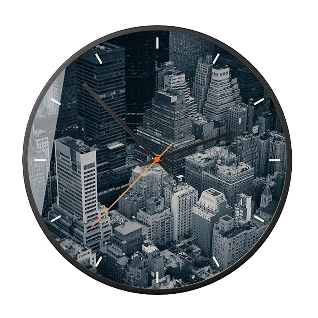 YEZI ウォールクロック - ラウンドミュートバレーリビングルームのベッドルームホームアールデコクォーツ時計 ファッション装飾スタイル (色 : E, サイズ さいず : 35.5*35.5cm (14 inches)) 35.5*35.5cm (14 inches) E B07MKQRMKC
