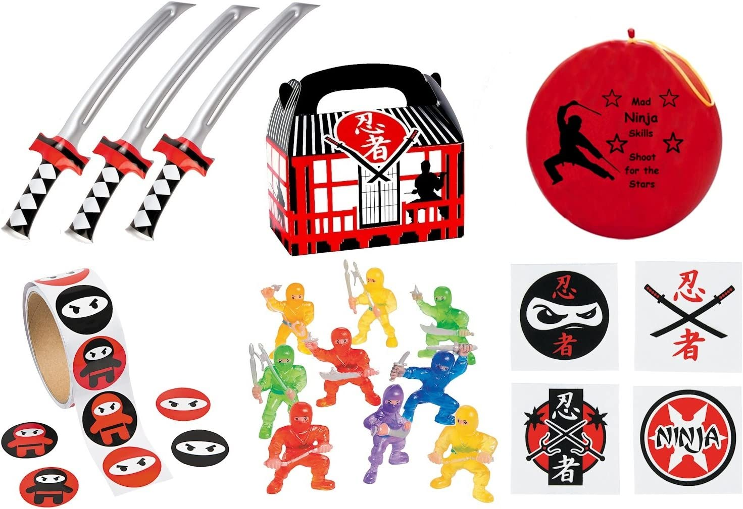 220 pc Ninja Warrior Kids Birthday Party Favor Bundle Pack (100 pc Stickers, 12 Treat Boxes, 12 Inflatable Swords, 24 mini figures toys, 72 tattoos, ...