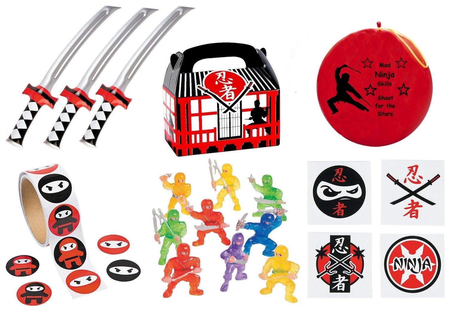 Ninja Wall Climbers Slap Bracelets Chop Sticks Stickers 48 PC Ninja Party Pack Ninja Party Favors