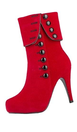 SODIAL(R)Zapatos de tacon Atractivos de mujer Zapatos de tacones altos de fiesta Botas Negro 38 t2fgKh8f