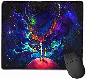 Rick Morty Mouse Pad Mouse Mat with Stitched Edge Non-Slip Rubber Base Large Mouse Pads for Laptops Computers and PCs 25x30cm