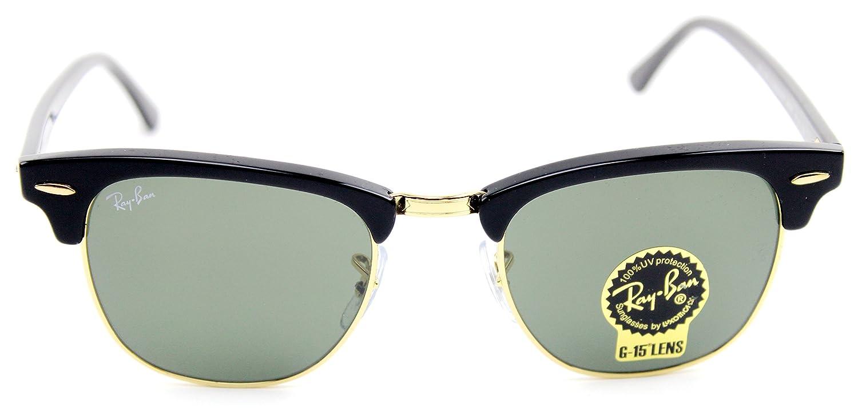 b2f2fd753f Amazon.com  Ray-Ban RB3016 Clubmaster Classic Unisex Sunglasses (Black Frame  Green G-15 Lens W0365