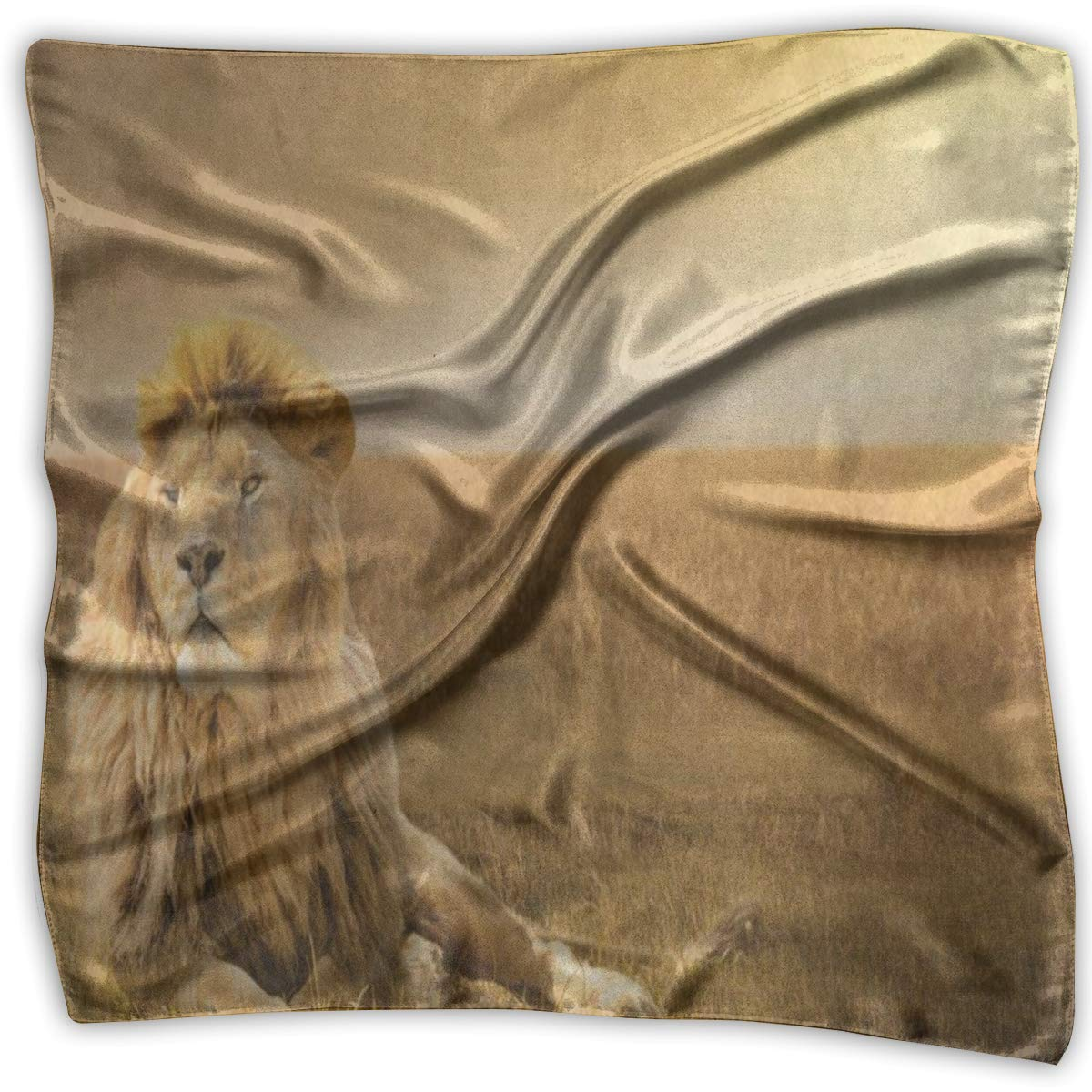 Square Scarf Brave Lion African Grass Handkerchief Unisex Bandanas Tie For Women
