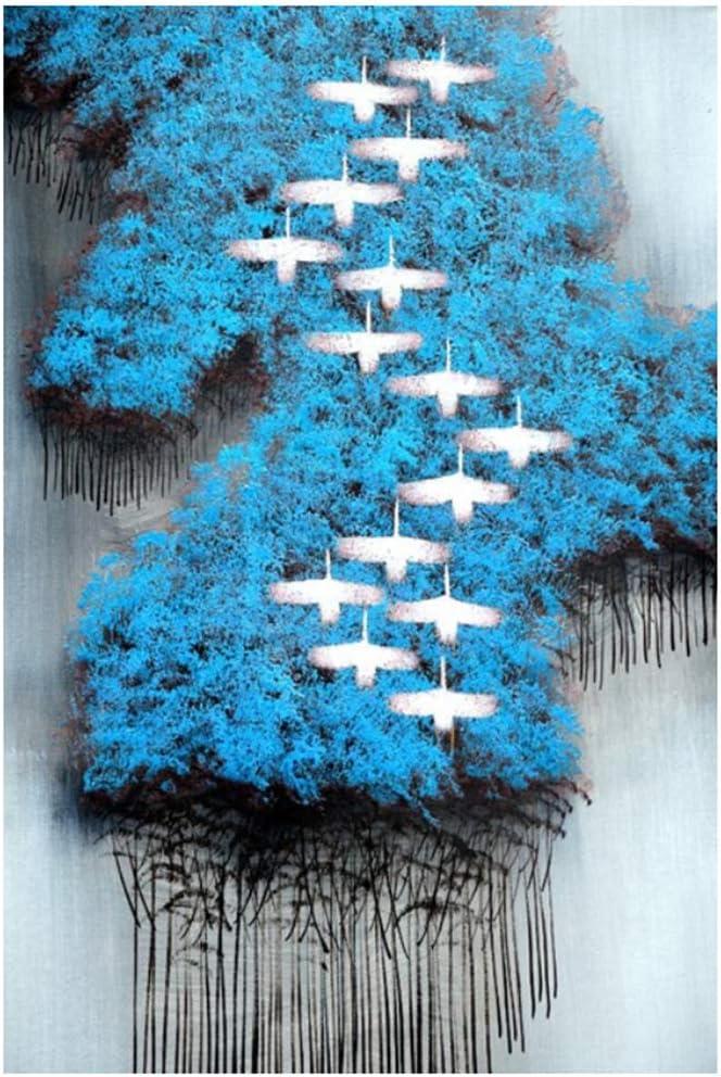 LIPENGYU Cuadro en Lienzo Decoración de Pared Cuadro en Lienzo Abstracto Moderno Los Gansos Salvajes Que vuelan sobre el Bosque Impresiones en Lienzo para Sala de Estar 30x40cm Sin Marco