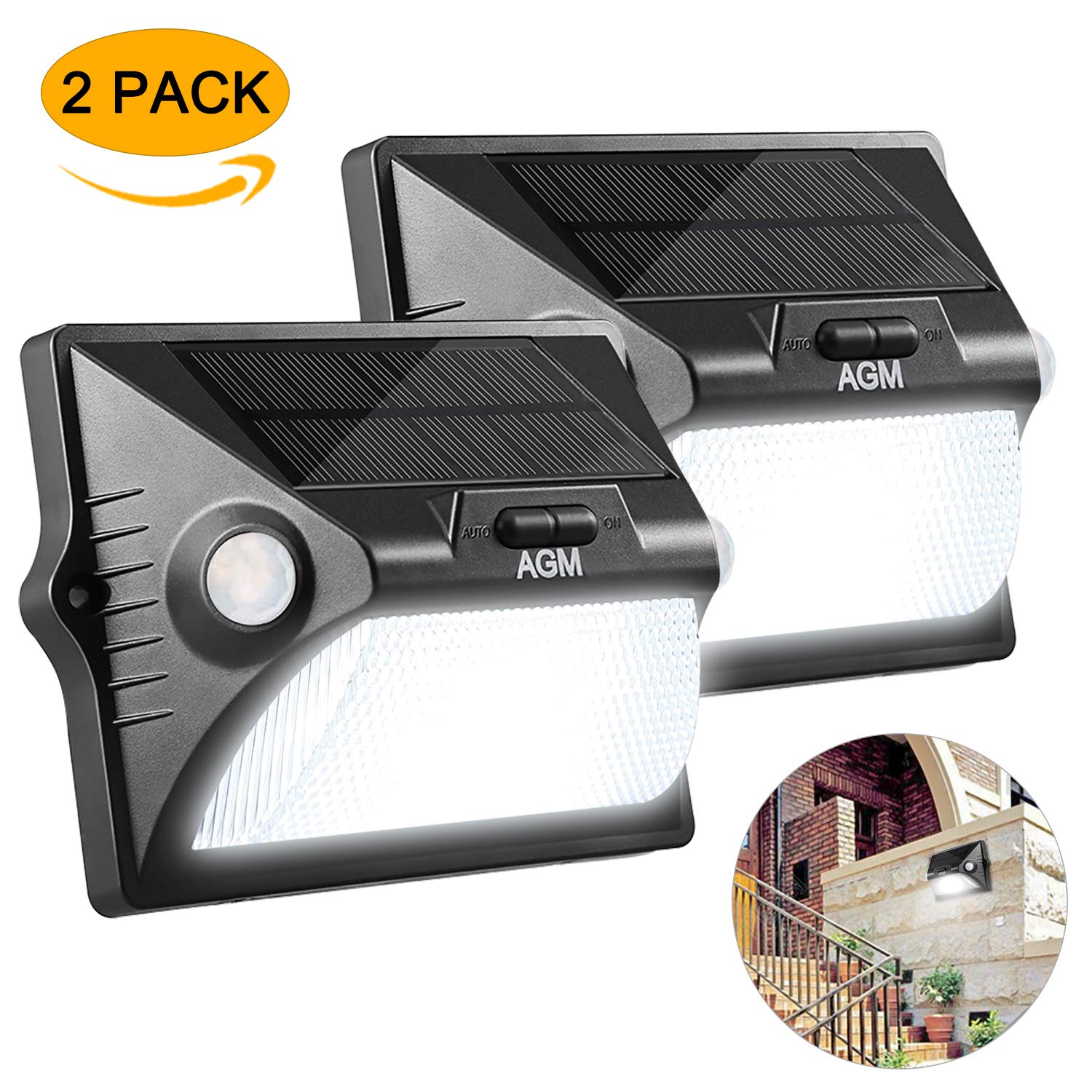 AGM Sensor Solar Lights, 12 LED Solar Powered Light Walkway Lighting IPX65 Waterproof Light Wide Angle Sensor Security Motion Lights for Patio, Deck, Yard, Garden, Driveway, Outside Wall (Black) AGM EU