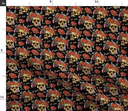 26f5a35f5e6 Boho Skulls Fabric - Skulls Flower Crown Boho Hipster Halloween Skulls  Flowers Roses Moths Dia De