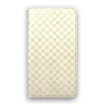 【クリックで詳細表示】whitenuts AQUOS PHONE 102SH ケース 手帳型 ベルトなし 市松柄 クリームホワイト スマホケース 手帳 WN-OD416920_M