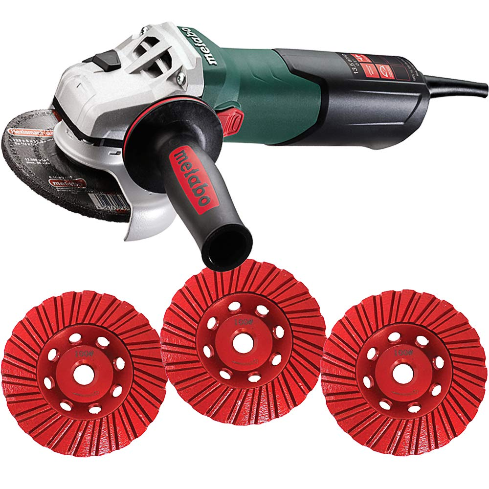 4.5//5 Inch Angle Grinder 13.5 Amp 2,800-9,600 rpm- 4 Inch THD Turbo DiamondCup Wheel Fine Bundle Metabo WEV15-125 Medium Set Coarse 4 Items