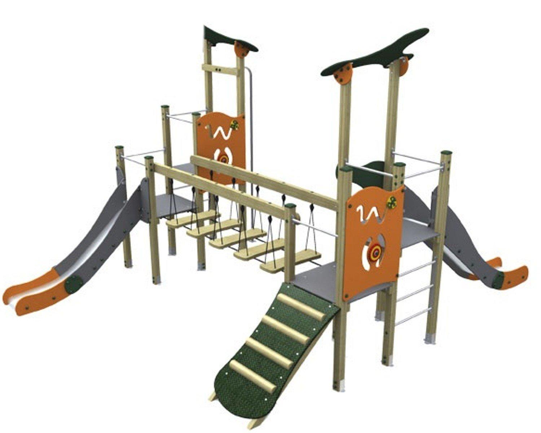 Loggyland Klettergerüst : Spielturm modern v mit brücke zwei rutschen rutschstange und rampe