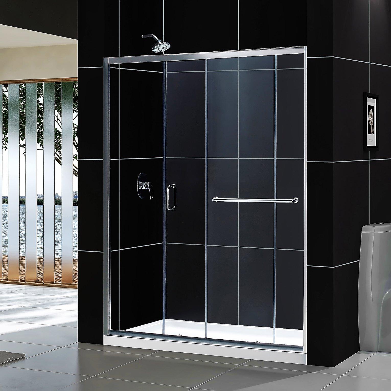 DreamLine Infinity-Z 56-60 in. Width, Frameless Sliding Shower Door, 1/4'' Glass, Brushed Nickel Finish