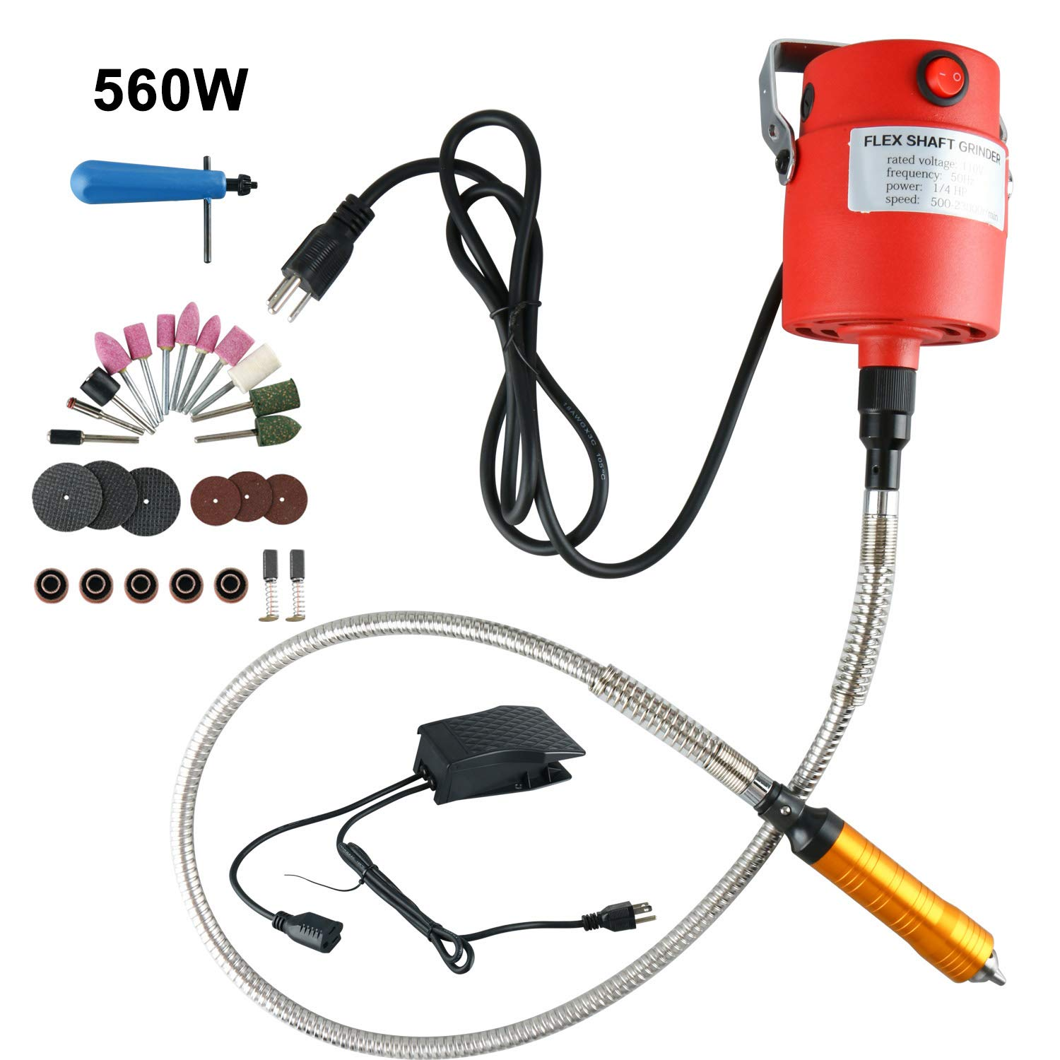 1/4''HP Rotary Tool Flexible Flex Shaft Hanging Grinder Carver Electric Carving Tools Kit, Seperate Motor Switch Knob Control, Foot Pedal Control, 560W Power, Metal Flexible Shaft,23000 RPM (560W)