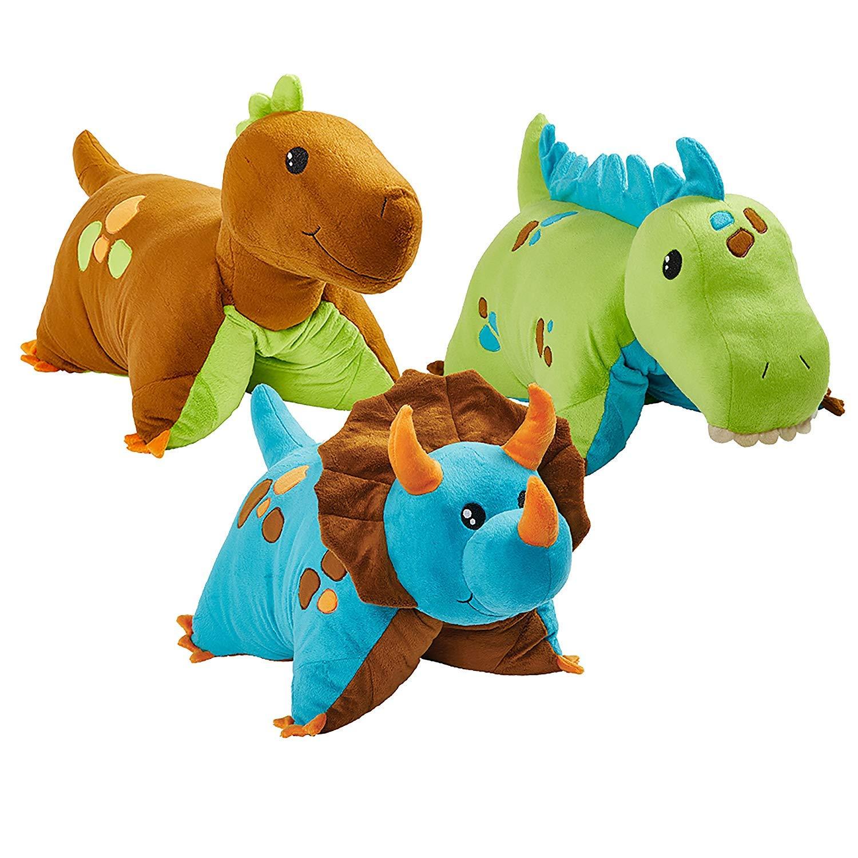 Pillow Pets 3 Dinosaur Combo Pack - Blue, Green & Brown Dinosaurs