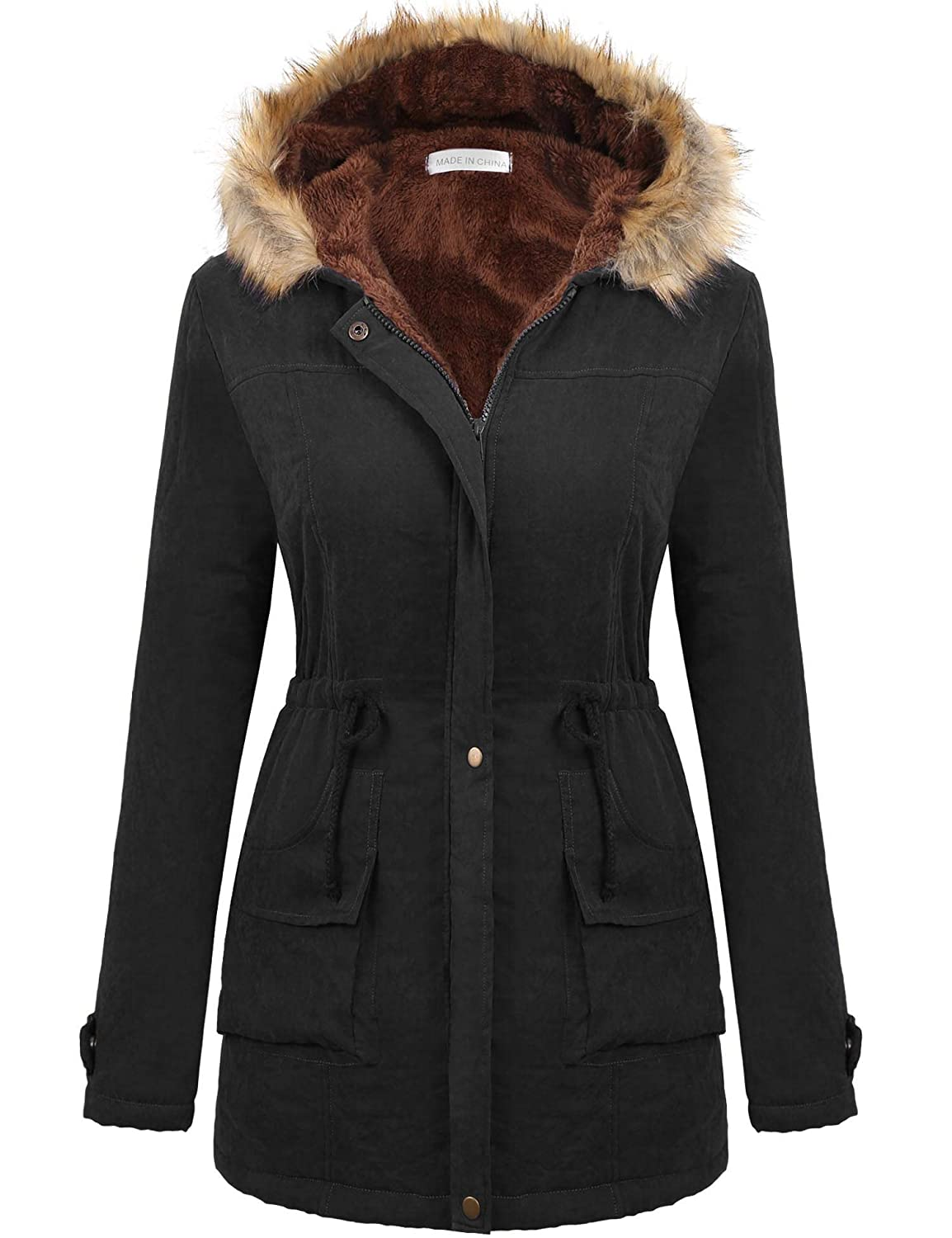2024black Macr&Steve Winter Coats for Women, Military Hooded with Faux Fur Trim Winter Jacket ZipUp Front