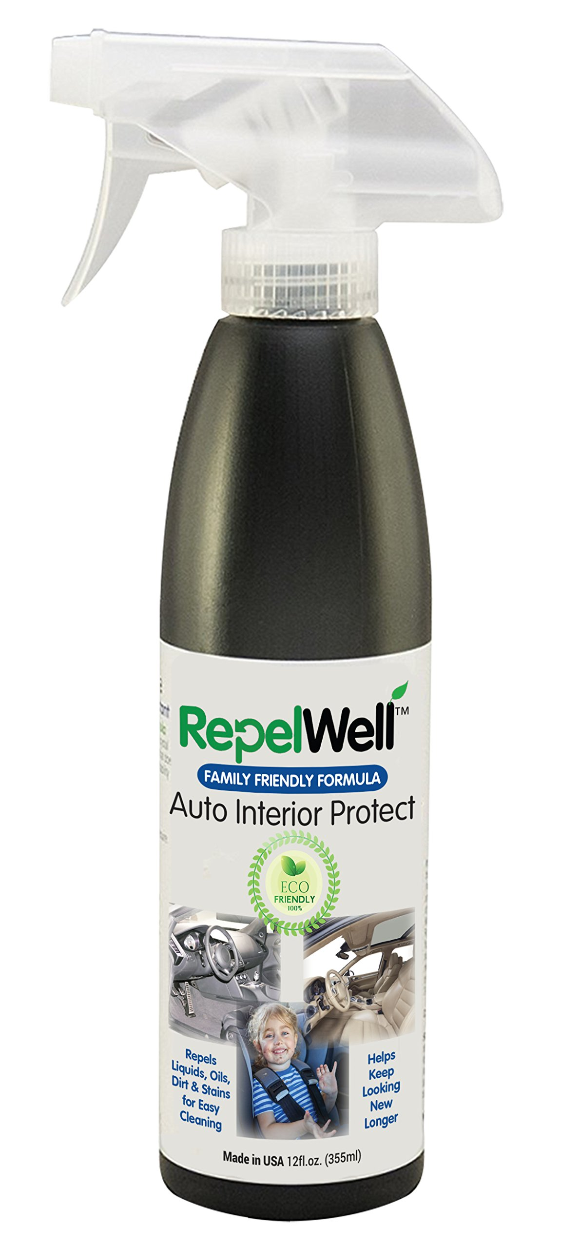 Repel Well Auto Interior Protect Stain & Water Repellent (12oz) Eco-friendly, Pet-safe Spray Keeps Leather, Suede & Fabric Car Interiors Clean, Dry & Looking New, Longer, Great for Kids' Car Seats
