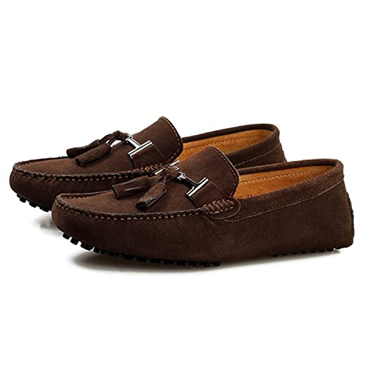 Robert Reyna Fashion Men's Tassel Suede Loafers Flats Comfort Driving Boat Shoes