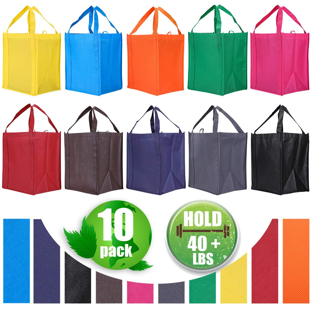 10 Pack Reusable Reinforced Handle Grocery Bags – Heavy Duty Large Shopping Totes with Thick Plastic Bottom can hold 40 lbs
