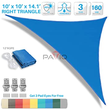 Patio Paradise 10u0027x10u0027x14.1u0027 Blue Sun Shade Sail Right Triangle