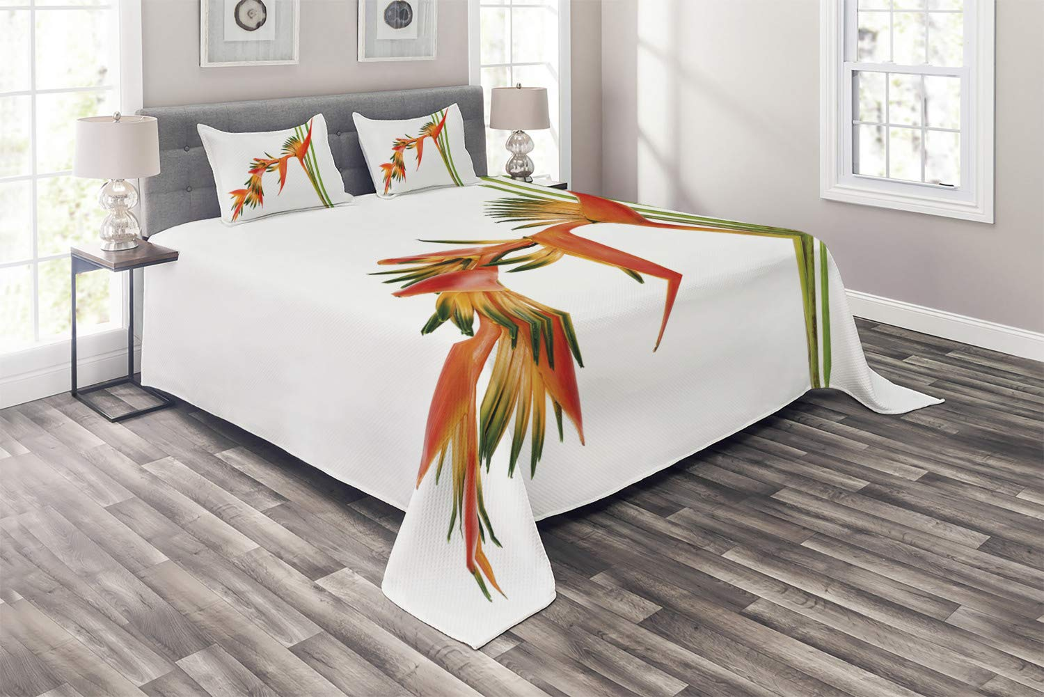 Ambesonne Floral Coverlet, Exotic Tropical Flowers on Branch Colorful Nature Jungle Garden Theme Image Print, 3 Piece Decorative Quilted Bedspread Set with 2 Pillow Shams, Queen Size, Orange Green