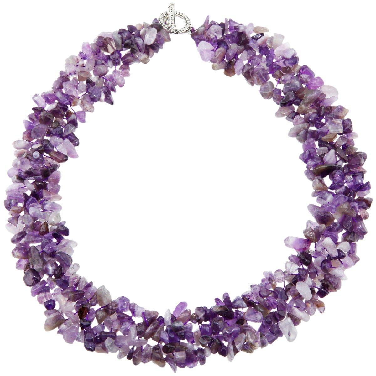 SUNYIK Purple Amethyst Tumbled Stone Bib Necklace Collar Choker Strands 17.5 inches